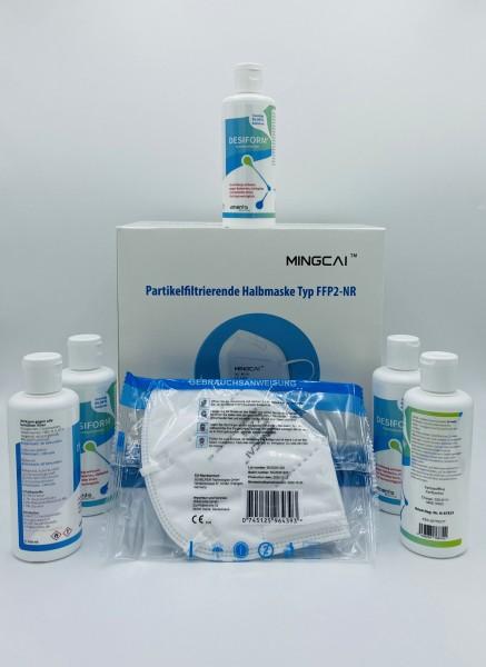 Paket 3: 50 MINGCAI FFP2-Masken und 5 x 100 ml Händedesinfektion