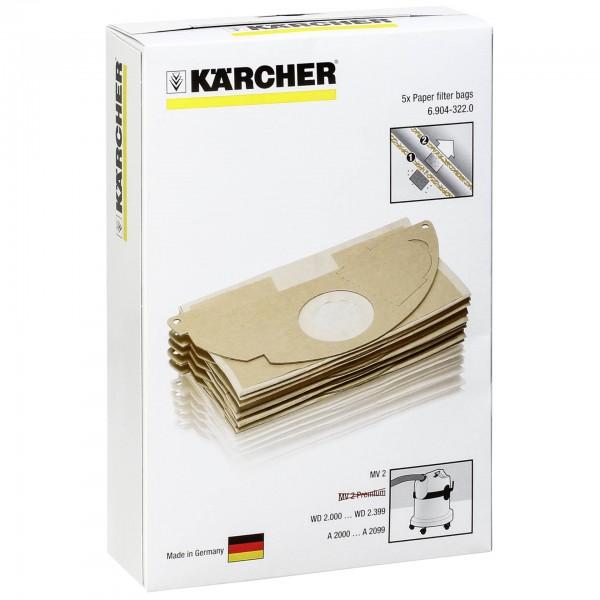 Kärcher Papierfilterbeutel 5 Stück für MV 2 Serie
