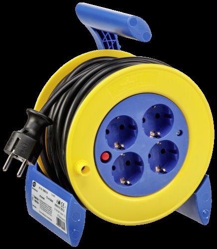 REV Minikabeltrommel 15 m blau/gelb