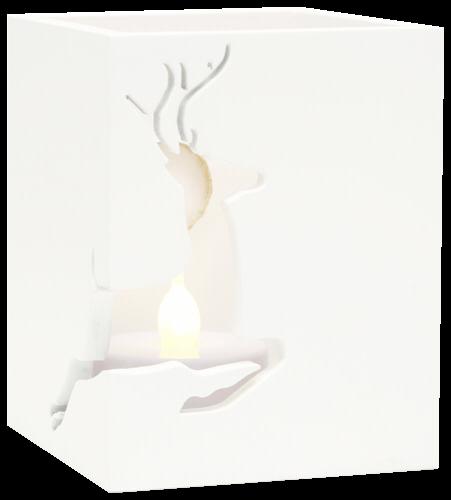 Deknudt Teelichthalter weiß Holz 2x6x7 Rentieraussch. S67HE1_E2C