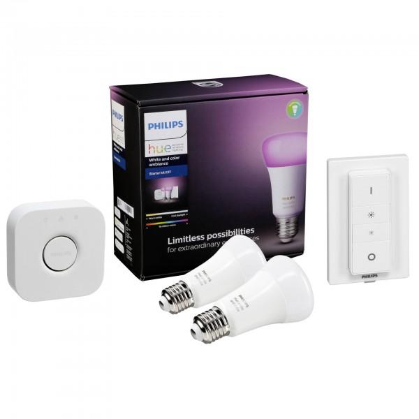 Philips Hue LED Lampe E27 Set Bluetooth + Bridge + Dimmer